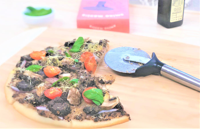 Gluten-free Vegan Pizza with Amino Mantra Black Truffle & Thyme Plant Patties, Mushrooms & Red Onions