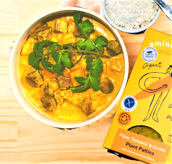 Thai Yellow Coconut Curry with Amino Mantra Fijian Turmeric & Cumin Patties