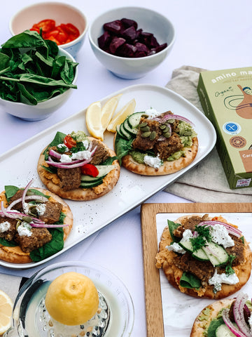 Amino Mantra Caramelised Garlic and Chive Patties with Pita bread