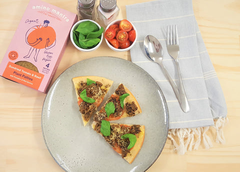 GLUTEN-FREE VEGAN PIZZA WITH AMINO MANTRA SUNDRIED TOMATO & BASIL PLANT PATTIES