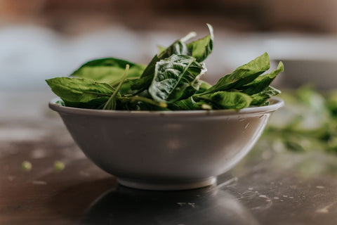 spinach, a good source of iron for a vegan diet