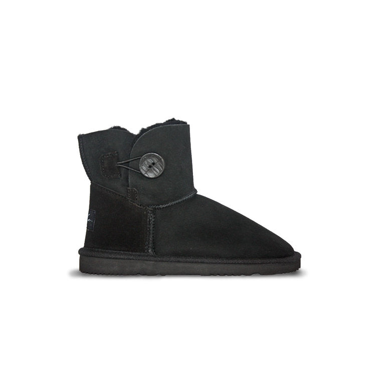 Burlee sheepskin boots mini size black colour with button detail. ugg style boots