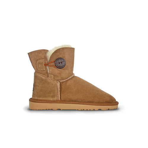 Burlee sheepskin boots mini size chestnut colour with button detail