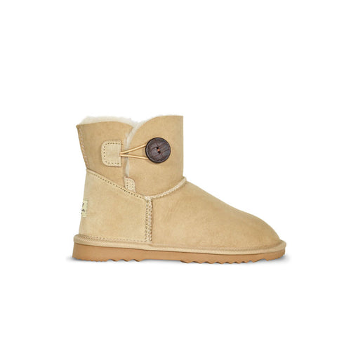 Burlee sheepskin ugg boots mini size sand colour with button detail