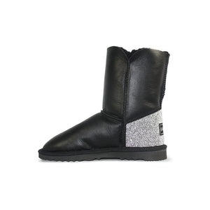 Burlee Nappa Black mid length Merino sheepskin boots with black bow and swarovski crystal detail