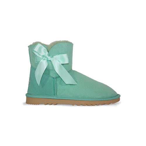 Burlee mid cut sheepskin boot in aqua, with aqua ribbon bow and swarovski crystal logo
