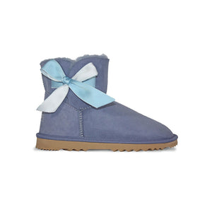 Burlee mini country blue sheepskin ugg boots with bow and swarovski crystal logo