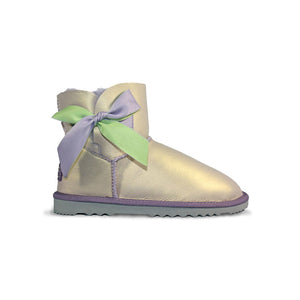 Burlee Bow sheepskin ugg style boots in amethyst colour exterior and purple lambs wool interior