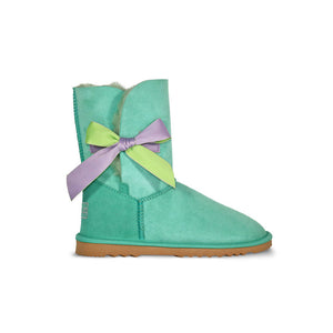 Burlee satin bow aqua sheepskin boots embellished with swarovski crystal logo, ugg style boot
