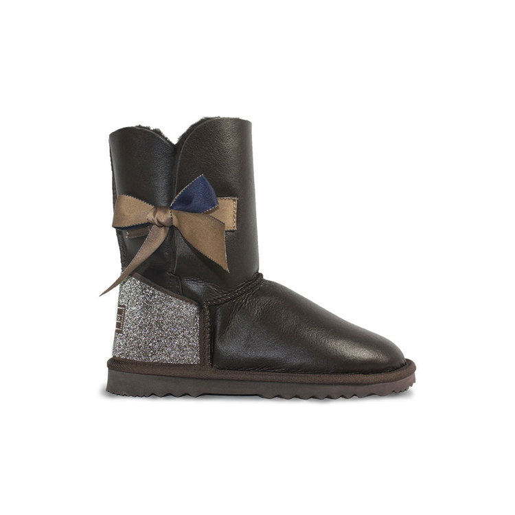 Burlee Las Vegas Mid length Chocolate Nappa Sheepskin boots with Swarovski crystals and bow detail