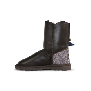 Burlee Las Vegas Mid length Chocolate Nappa Sheepskin boots in chocolate leather finish with Swarovski crystals and bow detail, ugg style