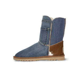 Burlee vintage blue denim covered sheepskin boots with calfskin heel and Swarovski® crystal button