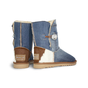 Burlee vintage blue denim jean covered sheepskin boots with calfskin heel and Swarovski® crystal button