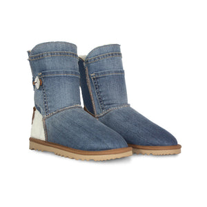 Burlee vintage blue denim jean covered ugg style sheepskin boots with calfskin heel and Swarovski® crystal button