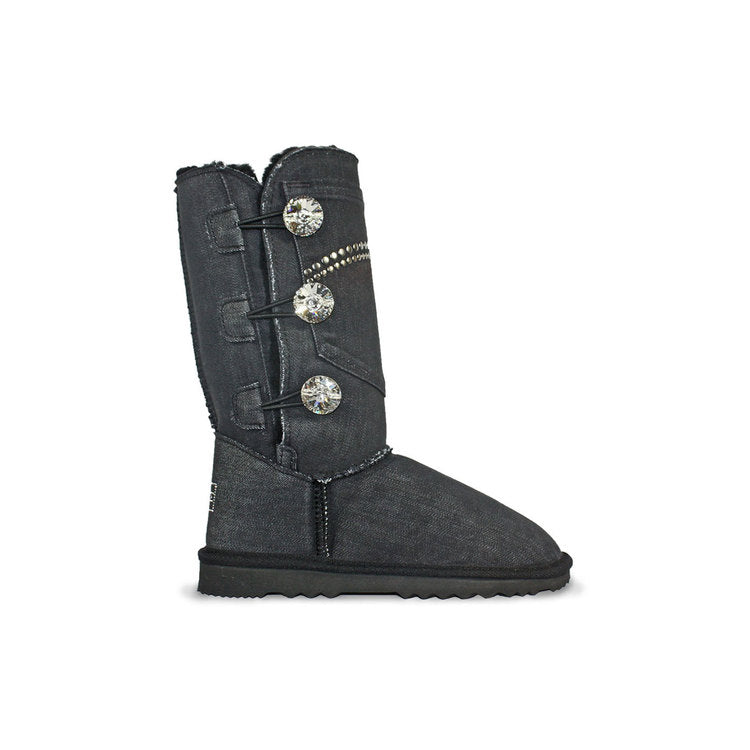 Burlee vintage tall black denim jean covered sheepskin boots with 3 Swarovski crystal buttons