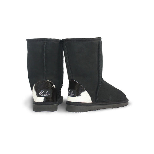 Burlee classic medium size black sheepskin ugg boots with calf skin heel