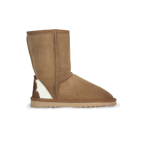 Burlee classic medium size chestnut sheepskin boots with calfskin heel
