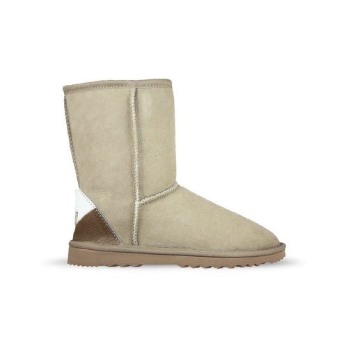Burlee classic medium size sand colour ugg sheepskin boots with calfskin heel