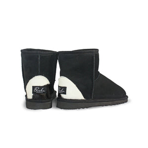 Burlee classic mini size black colour sheepskin ugg boots with designer calfskin heel