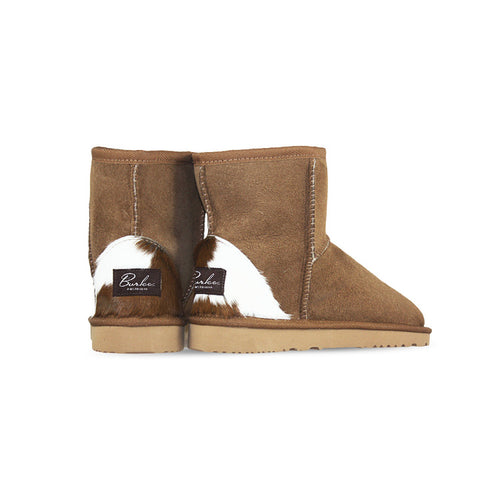 Burlee classic mini size chestnut colour sheepskin boots with calfskin heel