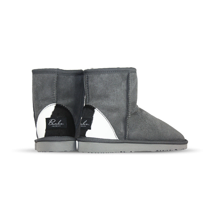 Burlee classic mini size slate colour sheepskin boots with calfskin heel