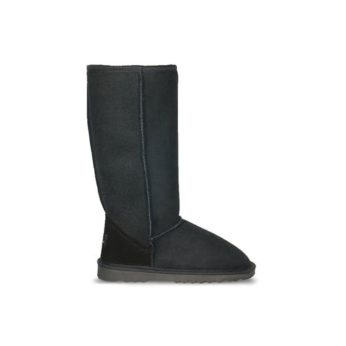 Burlee classic tall size black colour sheepskin boots, calf high ugg boots