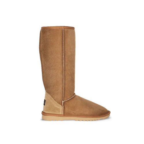 Burlee classic tall size chestnut colour sheepskin boots, calf high ugg boots