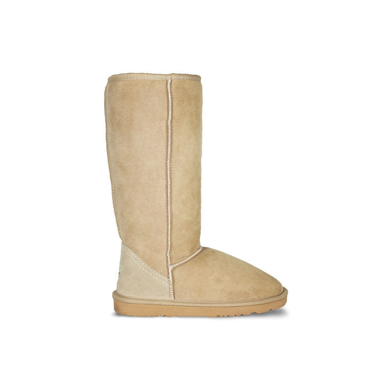 Burlee classic tall size sand colour sheepskin boots, calf high ugg style boots