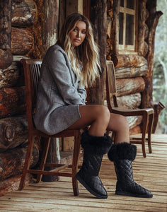 Handcrafted Nappa leather cross stitched boots, sheepskin water-resistant ugg style boots, Featuring elegant band of New Zealand possum fur cuff and Swarovski crystal logo