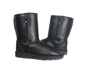 Harley black leather ugg style sheepskin boots with side cut zipper and EVA sole