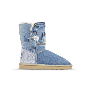Burlee vintage mid-size light blue denim jean sheepskin boots with Swarovski crystals, ugg style boots