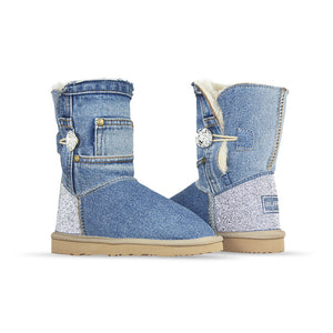 Burlee vintage light blue denim jean sheepskin boots with Swarovski crystals