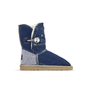Burlee vintage medium blue denim jean sheepskin ugg style boots with Swarovski crystals
