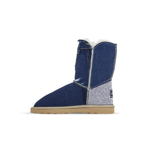 Burlee vintage medium blue denim jean ugg style sheepskin boots with Swarovski crystals