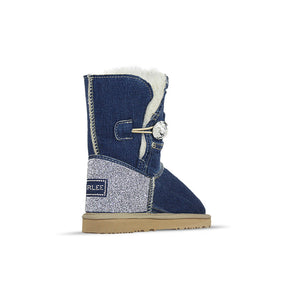 Burlee vintage medium blue denim jean sheepskin boots with Swarovski crystals