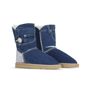 Burlee vintage medium blue denim sheepskin boots with Swarovski crystals, ugg style