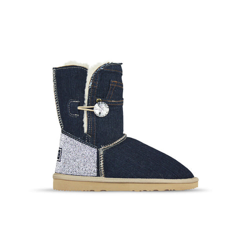 Burlee vintage dark blue denim jean sheepskin ugg style boots with Swarovski crystals