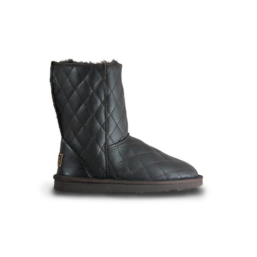 SoHo Black Nappa cross stitched chocolate leather mid-size sheepskin ugg boots, featuring water resistant cross-stitch outer finish with Swarovski crystal logo