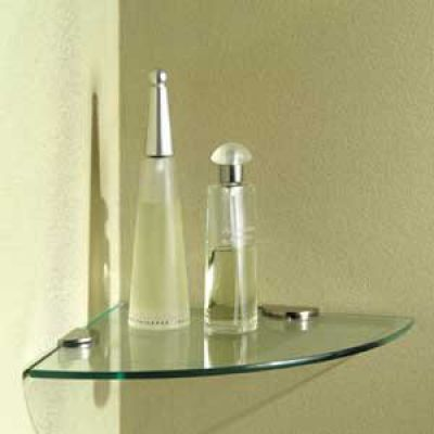 "Tempered Glass Shelf Corner  10"" x 10"" (Clamps not included)"