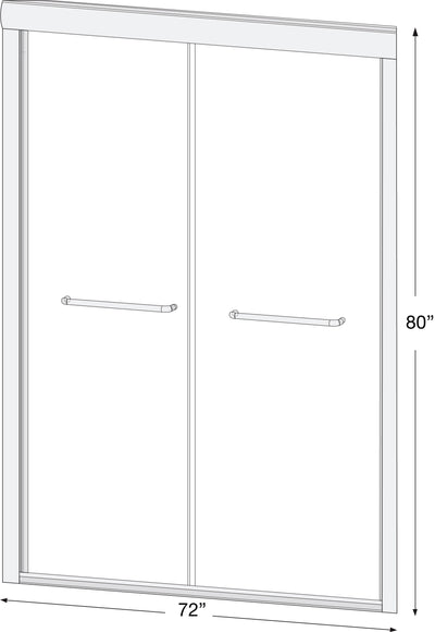 "Bypass Knockdown Shower Door  72"" x 80"" (HARDWARE ONLY)"