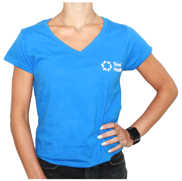 Sinai Health Women's V-Neck Cotton Tee (Blue)