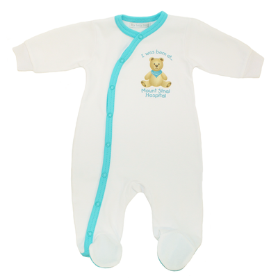 Mount Sinai Footie Sleeper by Itty Bitty Baby (White/Turquoise)
