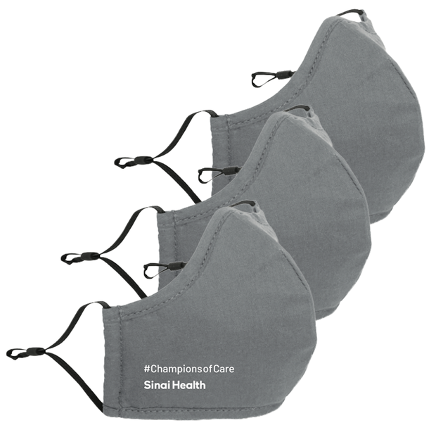 3-Pack Sinai Health Cotton Mask #ChampionsofCare (Grey)