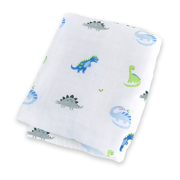 lulujo Cotton Muslin Receiving Blanket (Prehistoric)