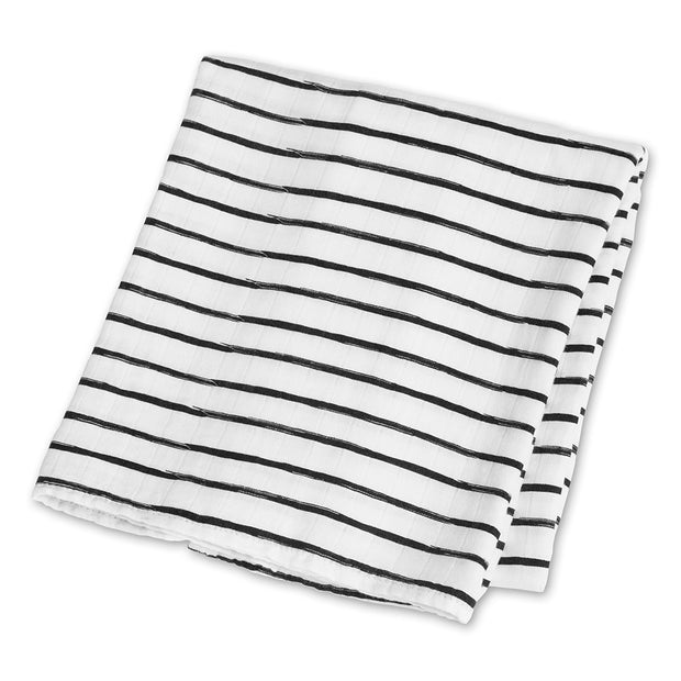 lulujo Bamboo Receiving Blanket (Black Messy Stripe)