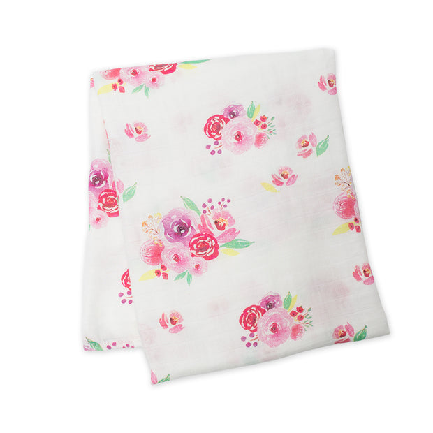 lulujo Bamboo Receiving Blanket (Posies)
