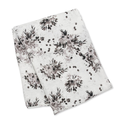 lulujo Bamboo Receiving Blanket (Black Floral)