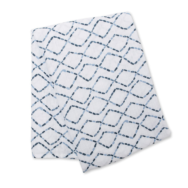 lulujo Cotton Muslin Receiving Blanket (Diamond Road)