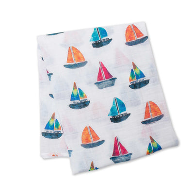 lulujo Bamboo Receiving Blanket (Sailboats)