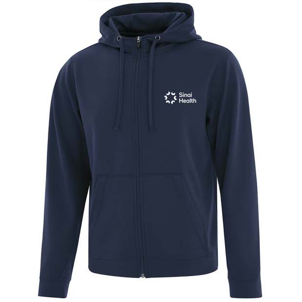Personalized Sinai Health Branded Full-Zip Hoodie Sweatshirt (Navy)